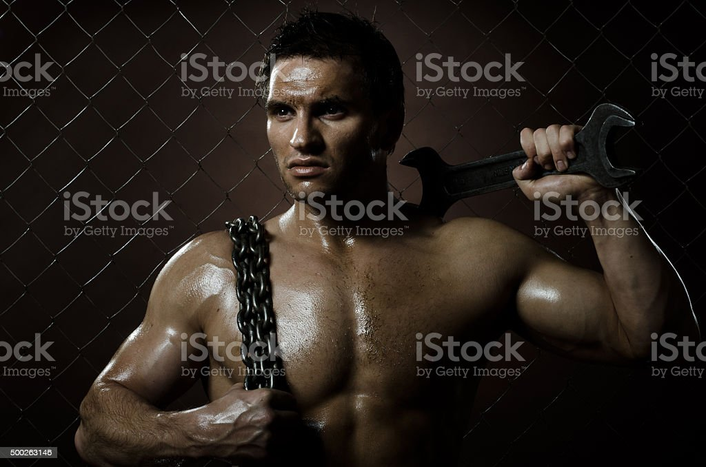 sexy workman stock photo