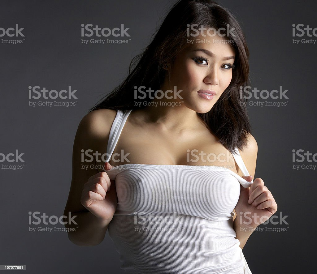 Sexy Young Asian Woman in White Tank Top royalty-free stock photo