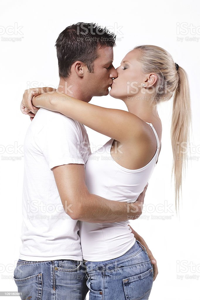 Sexy young couple kissing royalty-free stock photo