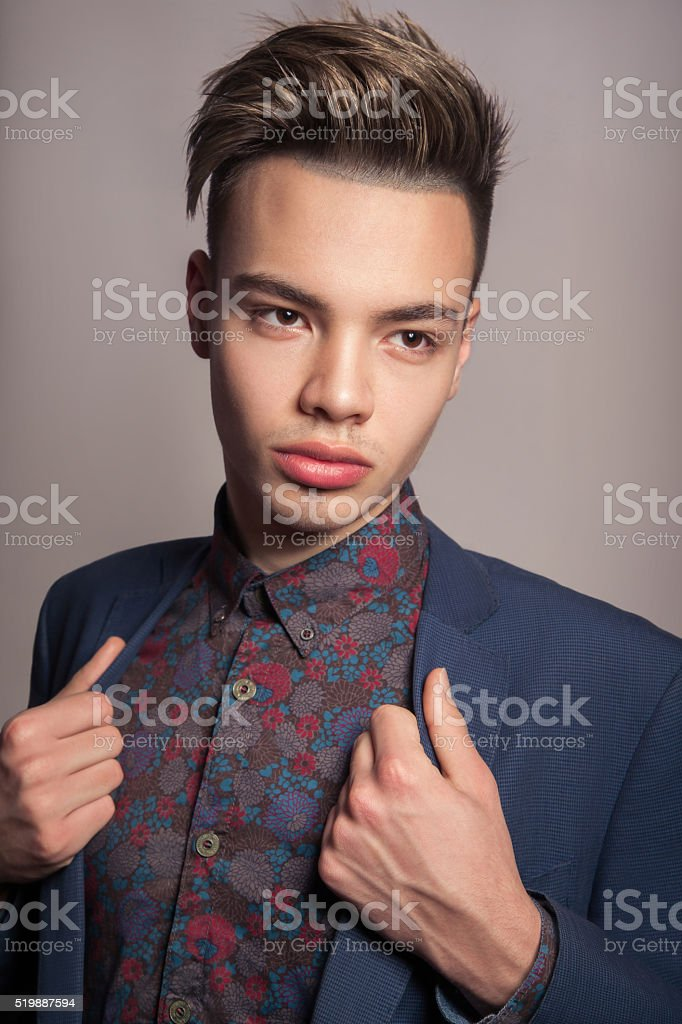 Sexy young fashion model with highlighted haircut stock photo
