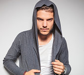 sexy young male model with hoodie shirt