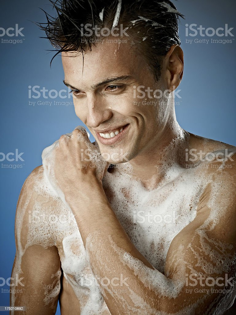 Sexy Young Man Soaping royalty-free stock photo