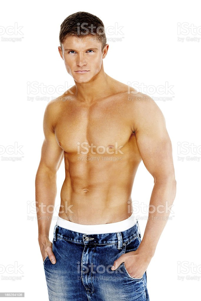 Sexy young muscular man stock photo