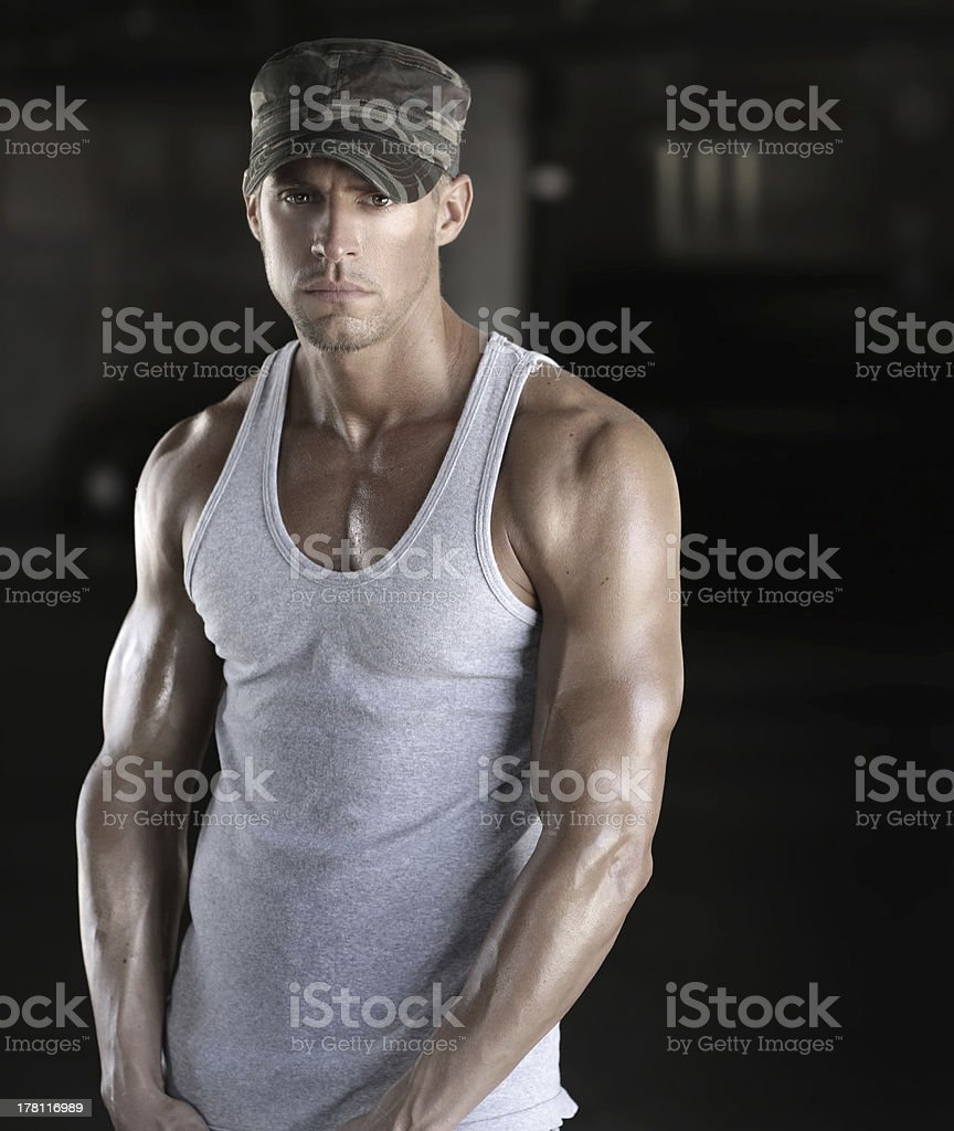 Sexy young soldier stock photo