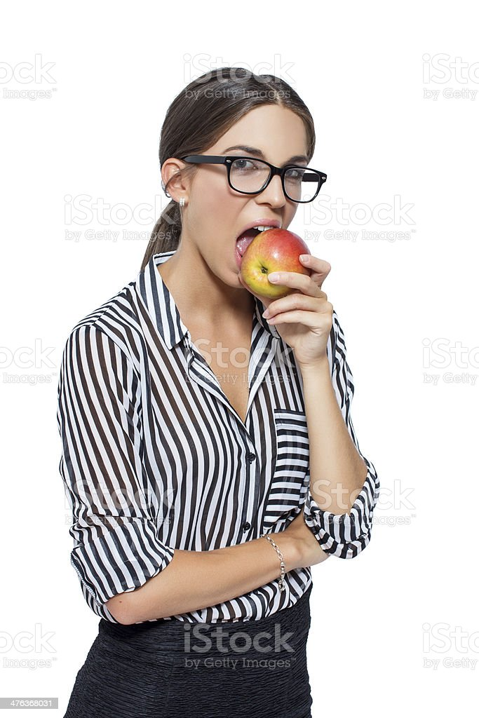 Sexy young woman bite apple royalty-free stock photo