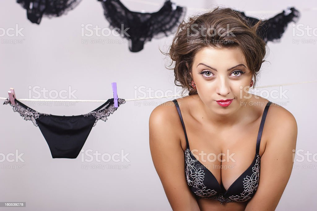 Sexy young woman in black bra royalty-free stock photo