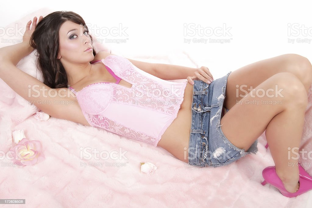 Sexy Young Woman in Pink stock photo
