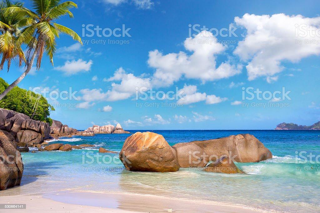 Seychelles beach stock photo