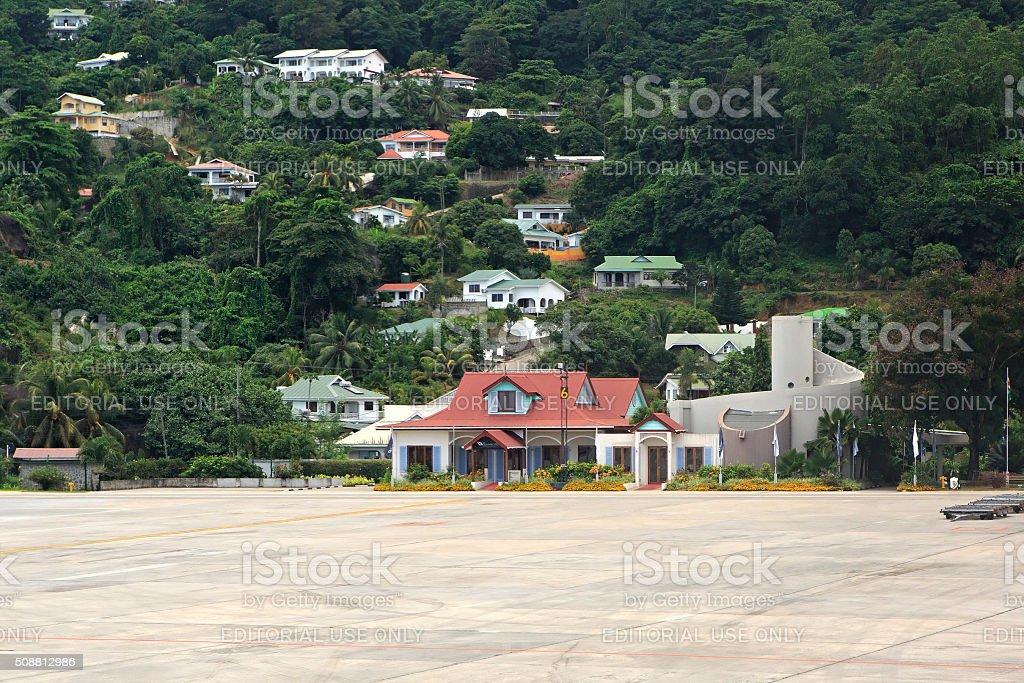 Seychelles International Airport on the Mahe Island stock photo
