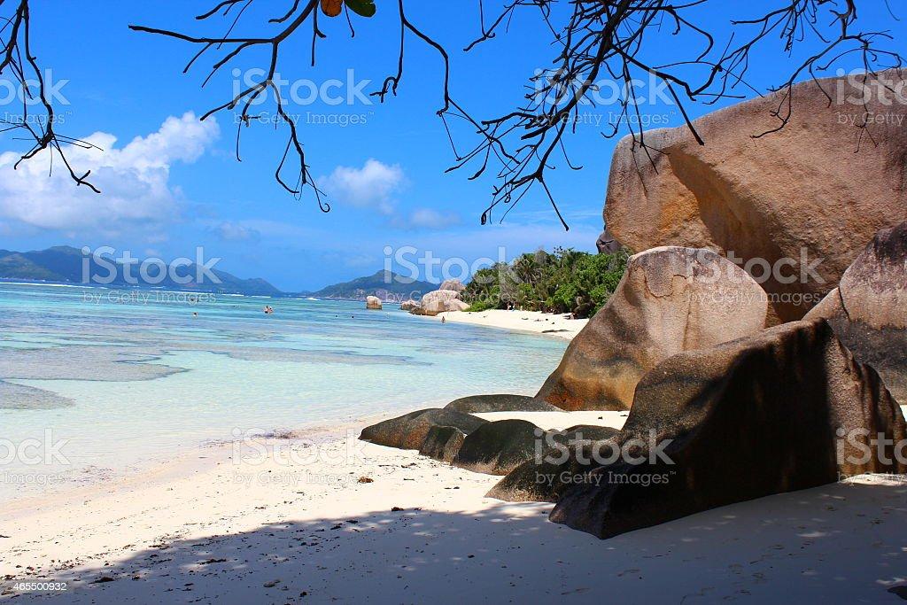 Seychelles La Dique stock photo