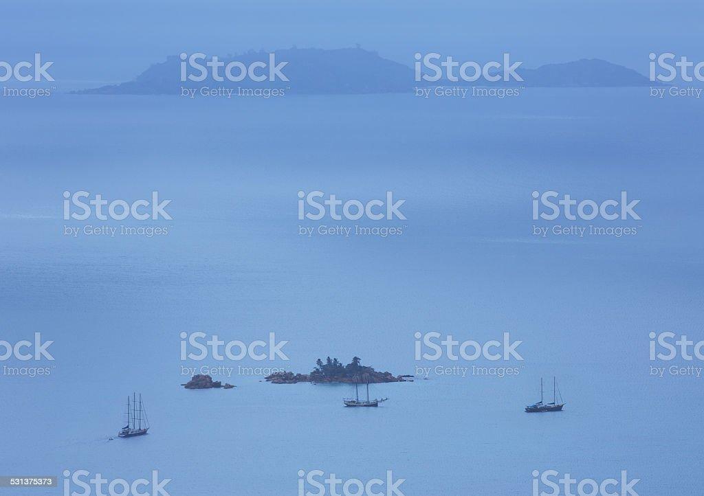 Seychelles sailing Indian Ocean stock photo