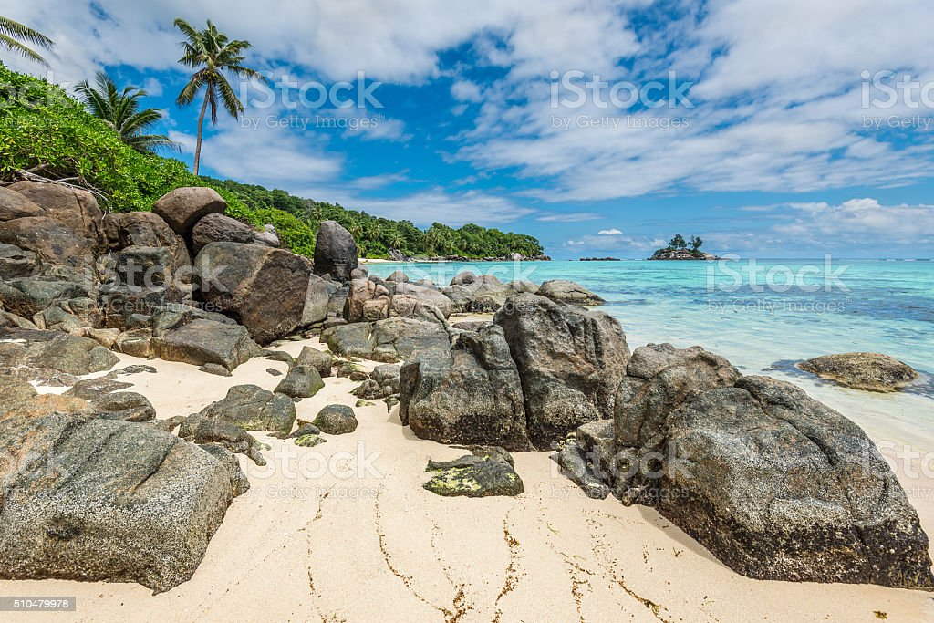 Seychelles seascape - Ance Royale Beach, Mahe Island, Seychelles stock photo