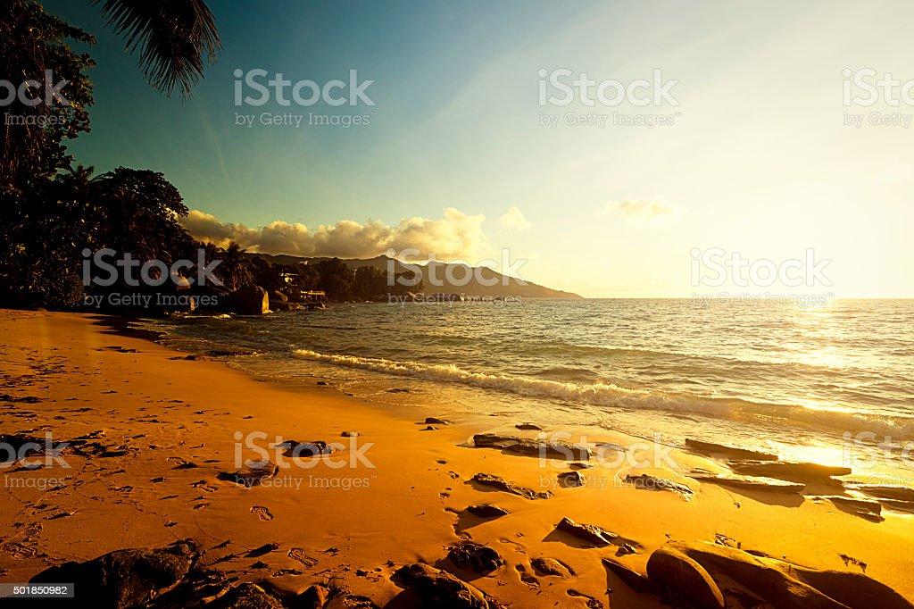 seychelles sunset stock photo