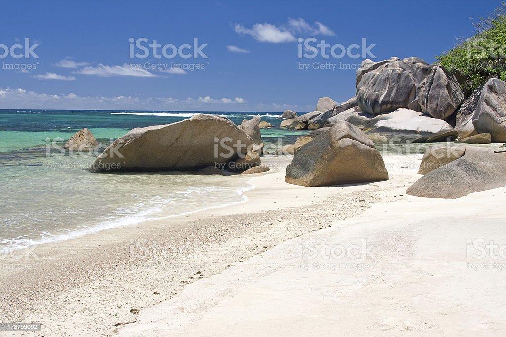 seychelles, tropical beach stock photo