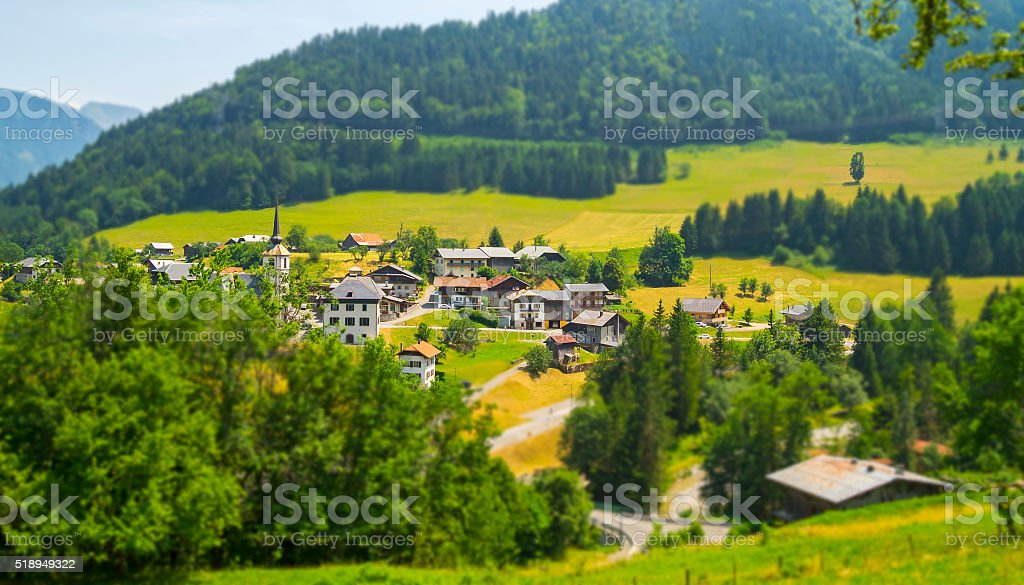 Seytroux village in the French Alps mountains stock photo