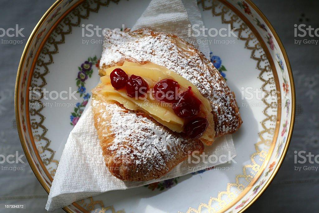 Sfogliatella 'Santa Rosa' with Cream and Cherries stock photo