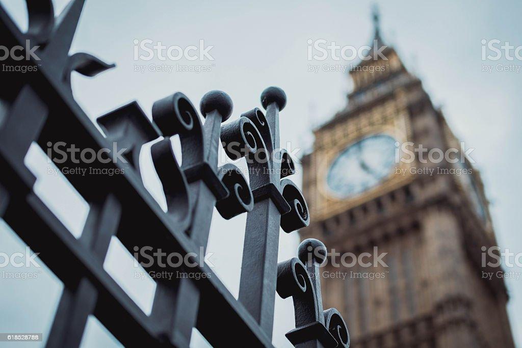 sfondo con veduta insolita del Big Ben stock photo