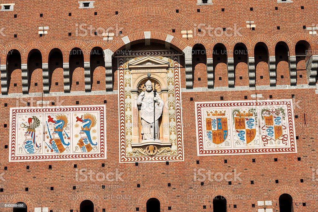 Sforza Castle in Milan Italy - Castello Sforzesco stock photo
