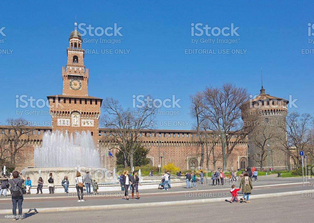 Sforza Castle in Milan, Italy stock photo