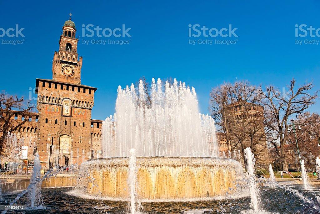 Sforza Castle in Milan stock photo