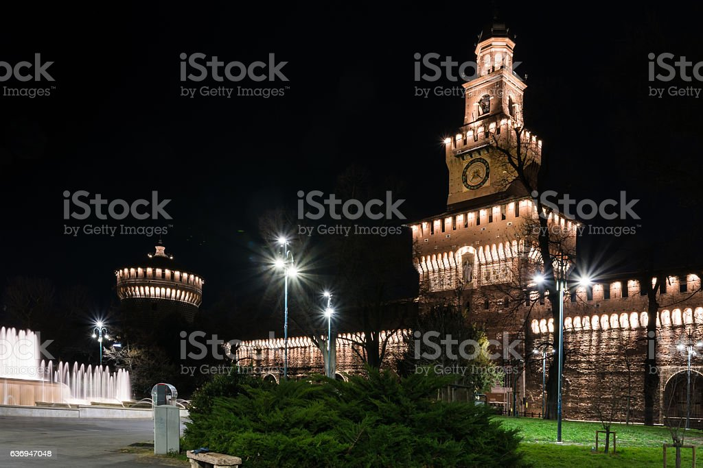 Sforza Castle Milan Italy Monument Medieval Architecture Histori stock photo