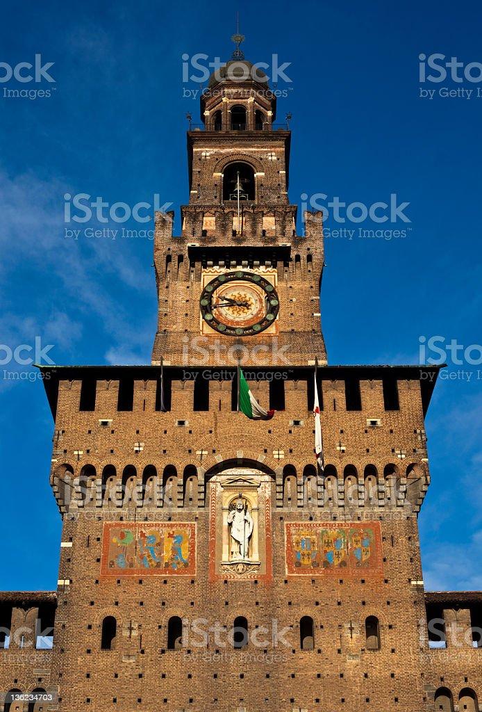 Sforzesco Castle Front Tower Milan Italy stock photo