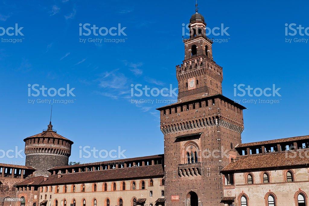 Sforzesco castle in Milan stock photo