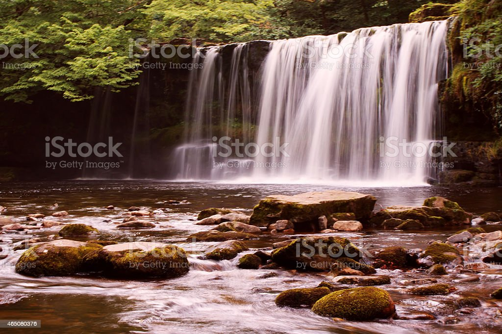 Sgwd Ddwli Uchaf Waterfall within the Brecon Beacons National Park stock photo