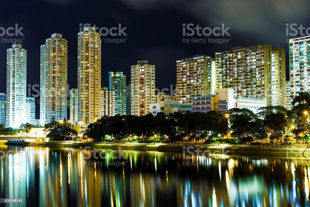 Sha Tin in Hong Kong at night stock photo