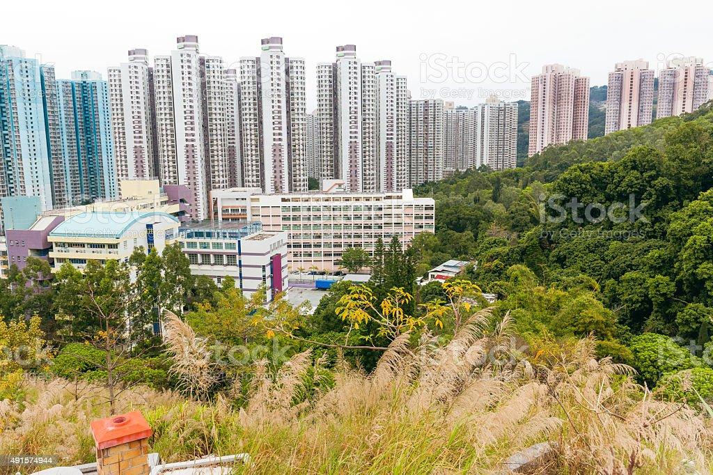 Sha Tin,Old graves, trees, skyscrapers, hills, Hong Kong,China stock photo