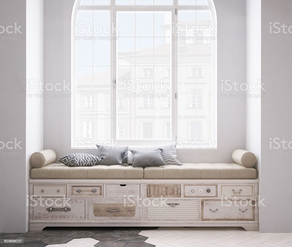 Shabby chest of drawer with pillows stock photo