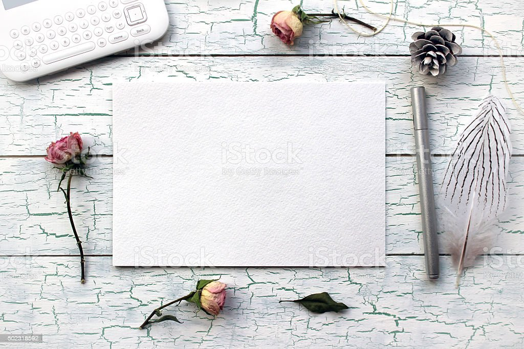 Shabby chic, Boho Mockup for presentations with dry roses. stock photo