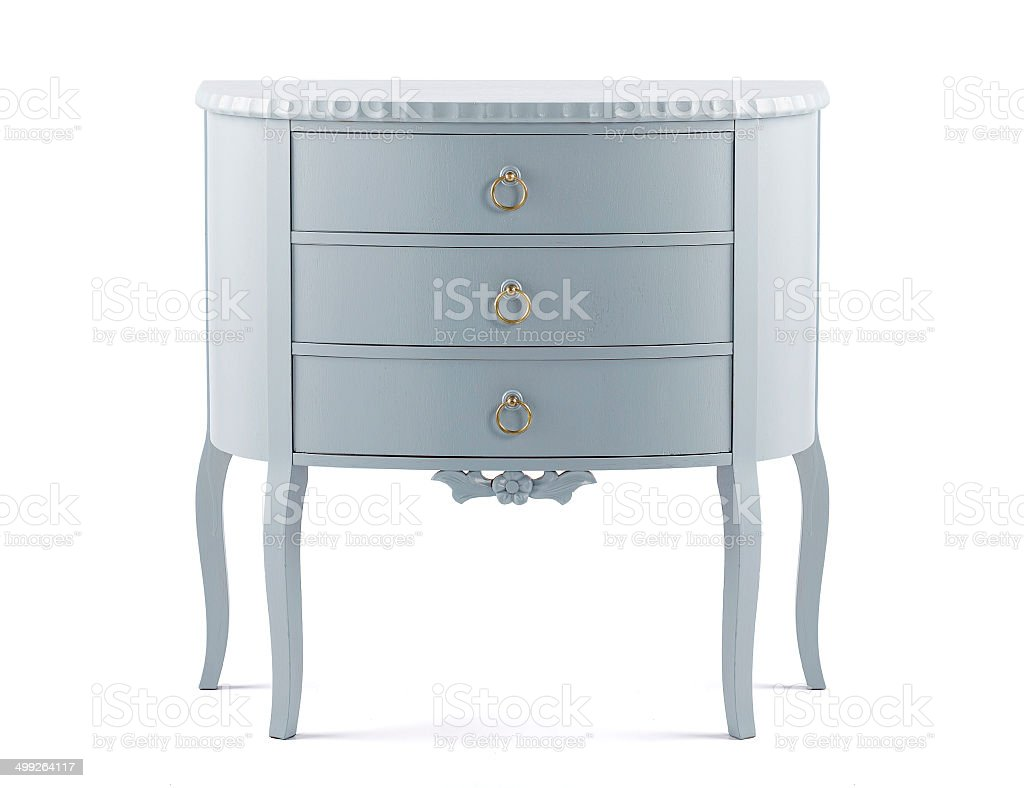 Shabby chic chest of drawers isolated on white background stock photo