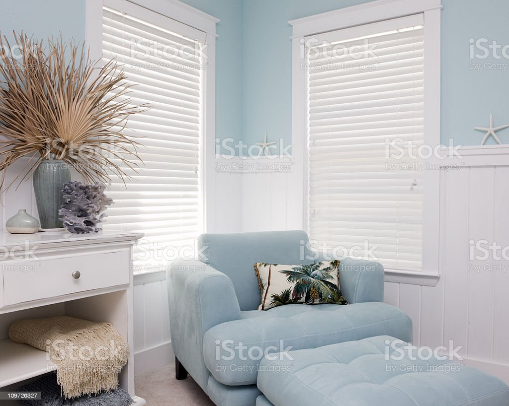 Shabby Chic Interior Decor of Beach House stock photo