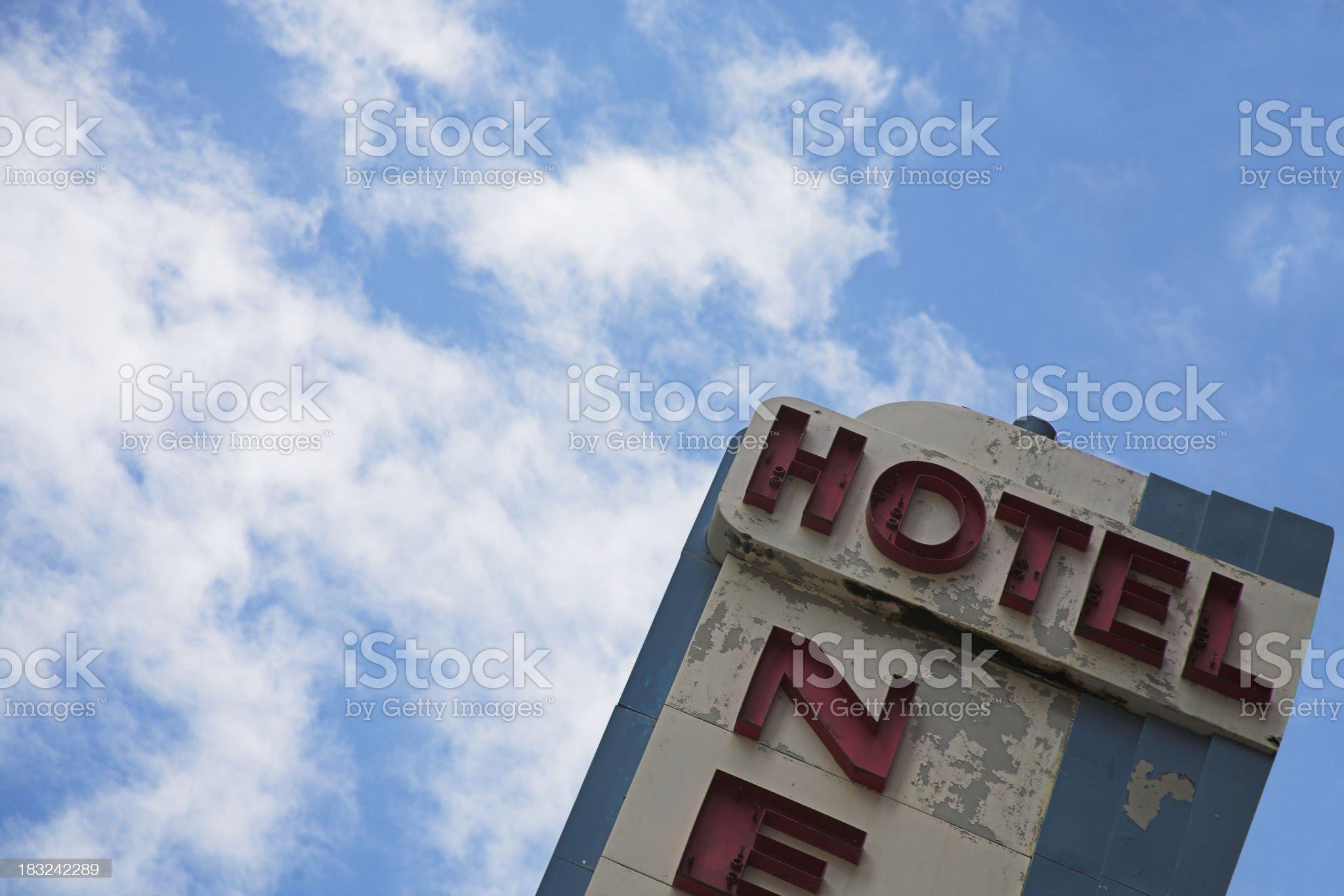 shabby hotel sign royalty-free stock photo