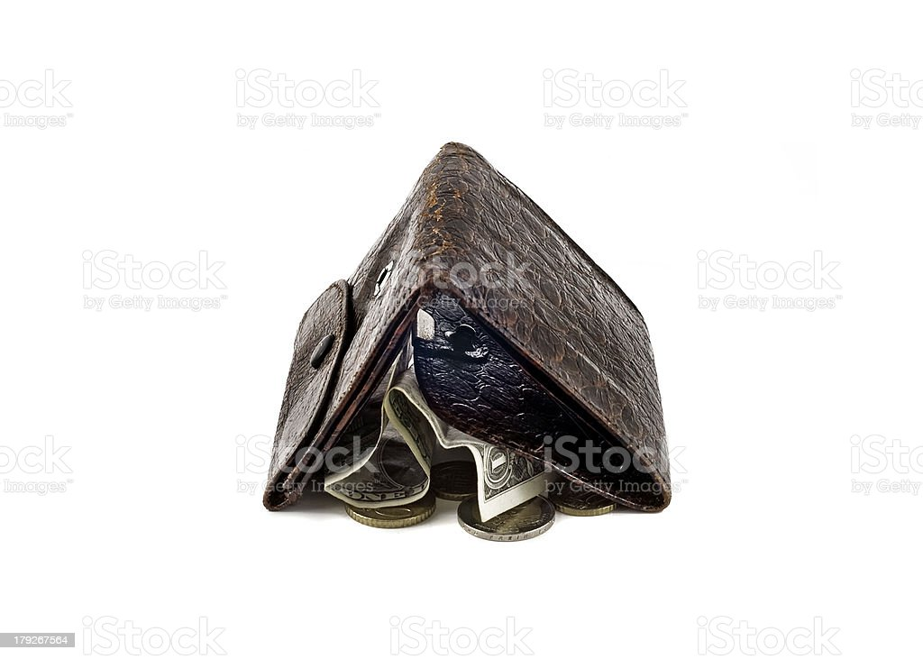 Shabby wallet with one dollar and change royalty-free stock photo
