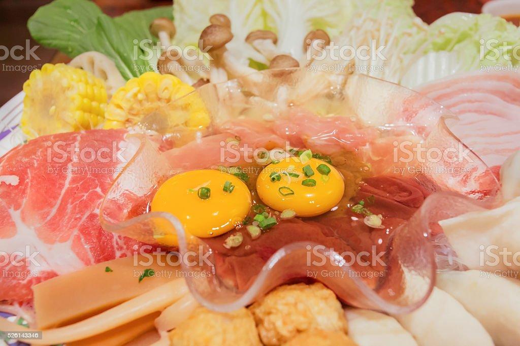 Shabu or sukiyaki is a healthy food. stock photo