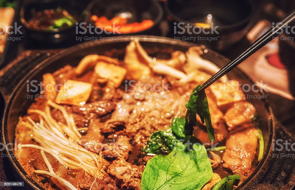 Shabu shabu, japanese food, meat food set in hotpot stock photo