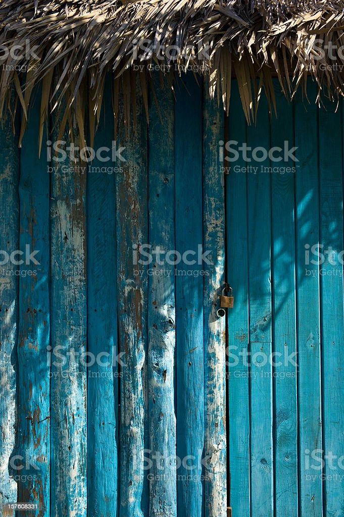 Shack Blue Door stock photo