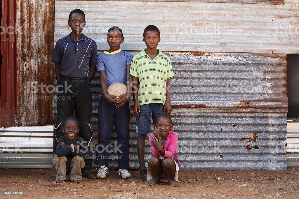 Shack children South Africa landscape stock photo