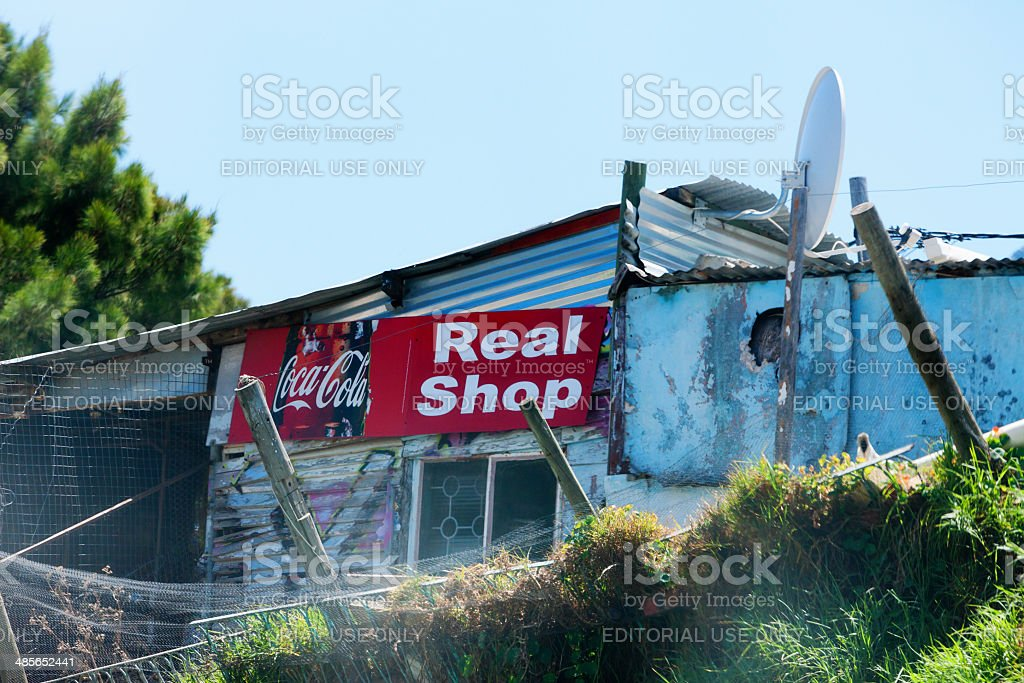 Shack shop or Spaza in Imizamo Yethu, Cape Town stock photo