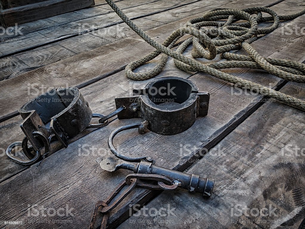 Shackles, medieval tool for deprivation of liberty stock photo