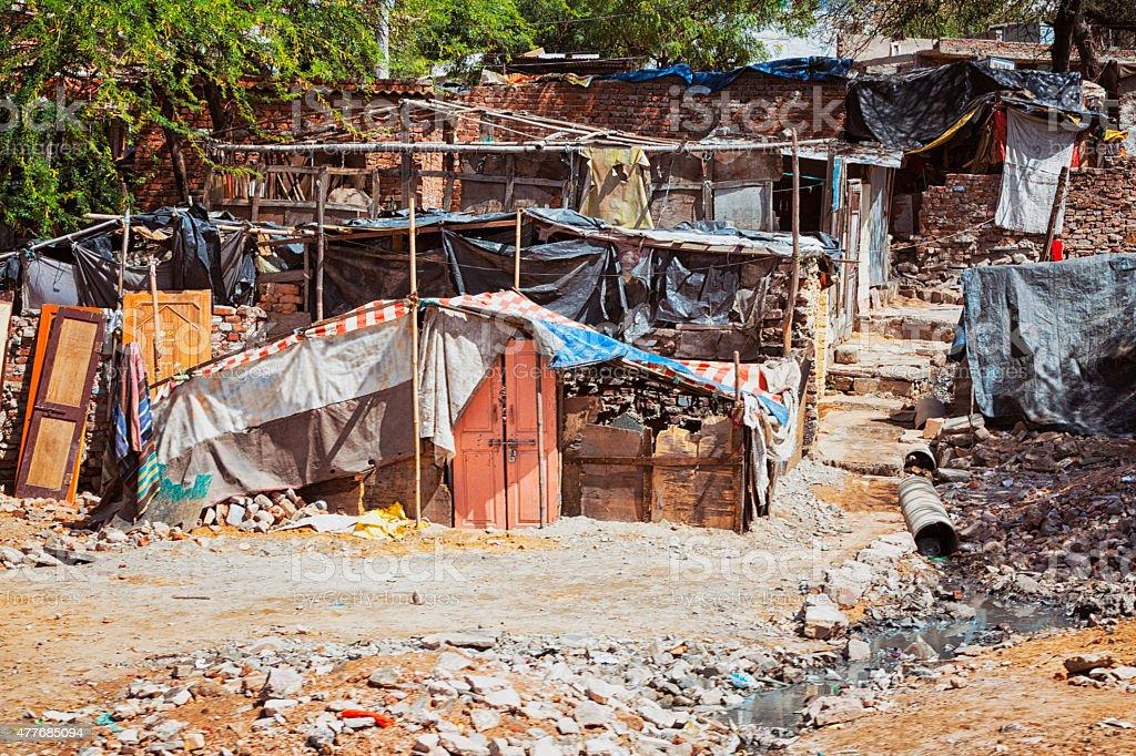 Shacks in Impoverished Area of Jaipur, India stock photo