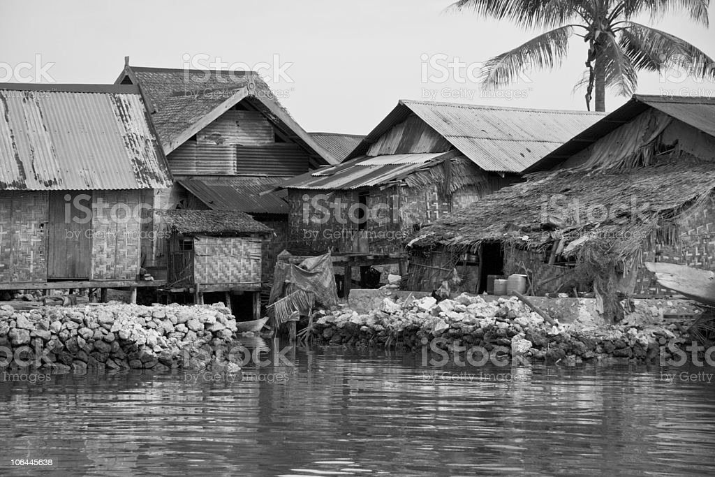 Shacks on Water royalty-free stock photo