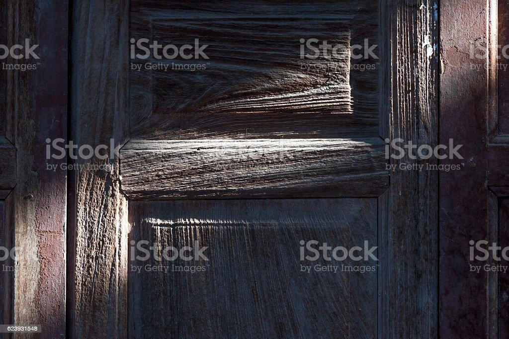 Shade and shadow of retro wooden door. stock photo