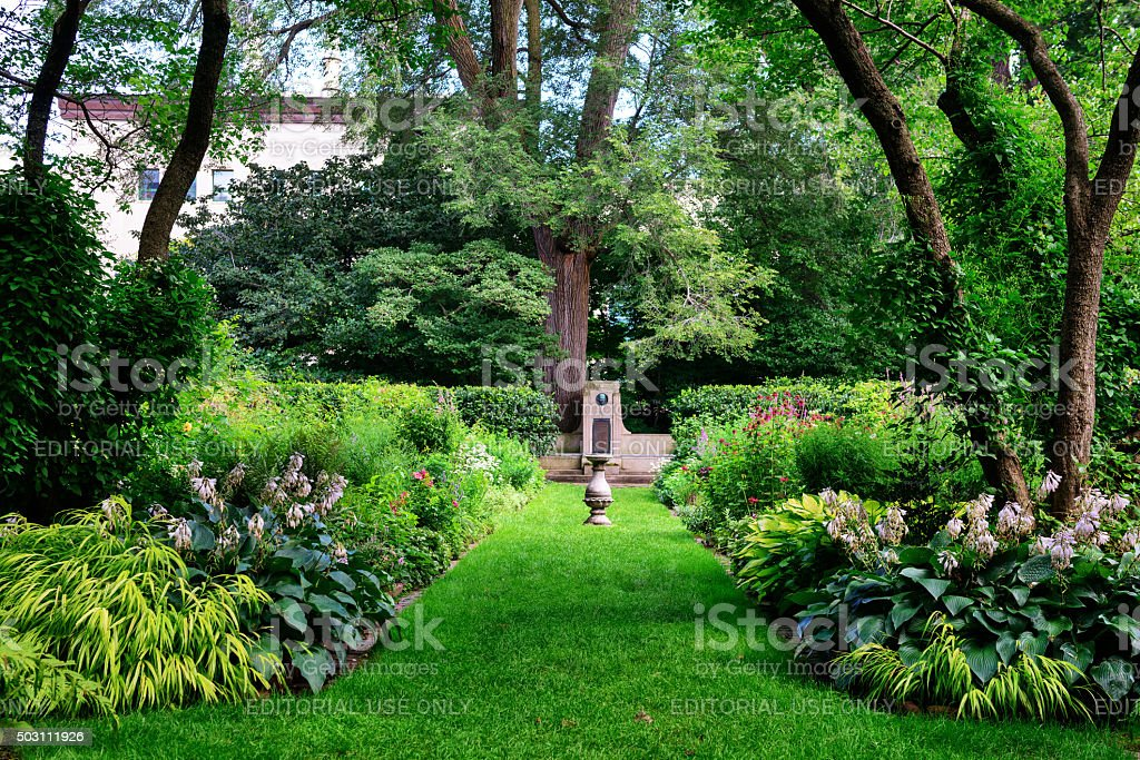 Shade Garden in Evanston, Illinois stock photo