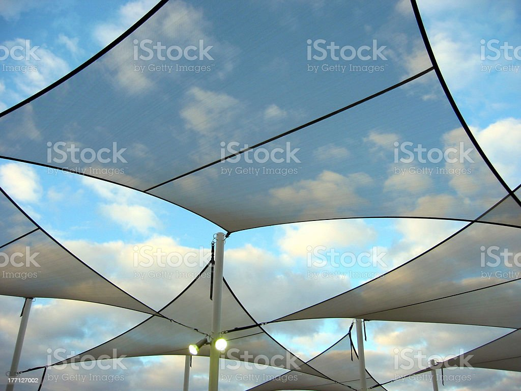 Shade Sails & Lights stock photo