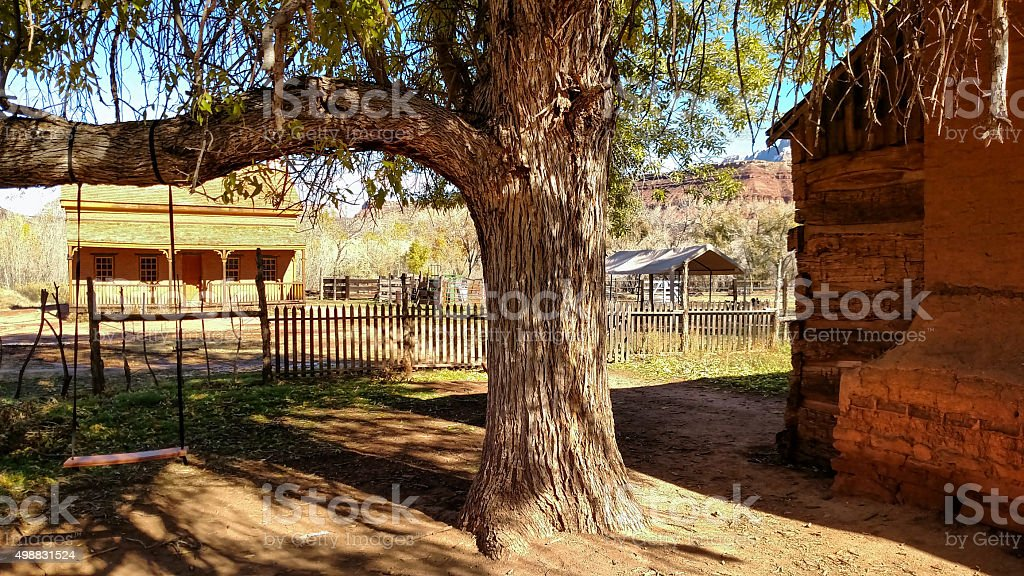 Shade tree fences and historic buildings Grafton Ghost Town Utah stock photo
