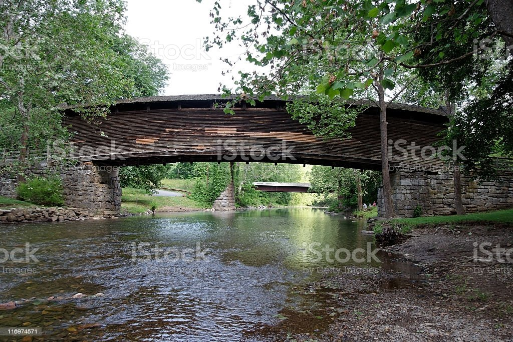 Shaded Cover Bridge royalty-free stock photo
