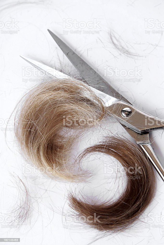 Shades of blonde hair curls. stock photo